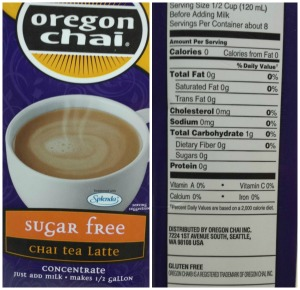 oregon chai sugar free latte