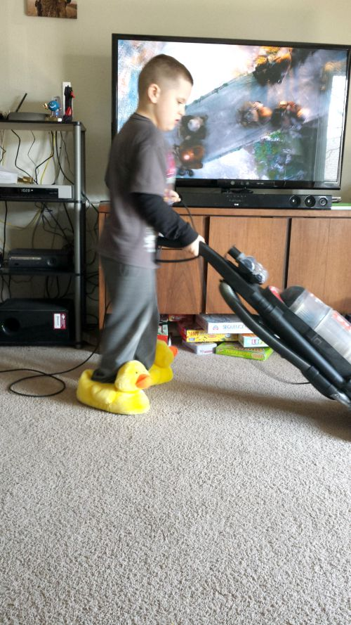 Vacuuming in Slippers